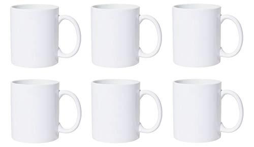 Kaffeebecher Kaffeetassen Espressotassen Porzellan Weiß 6 Stück Set Modellauswahl, Modell:300 ml gerade Form