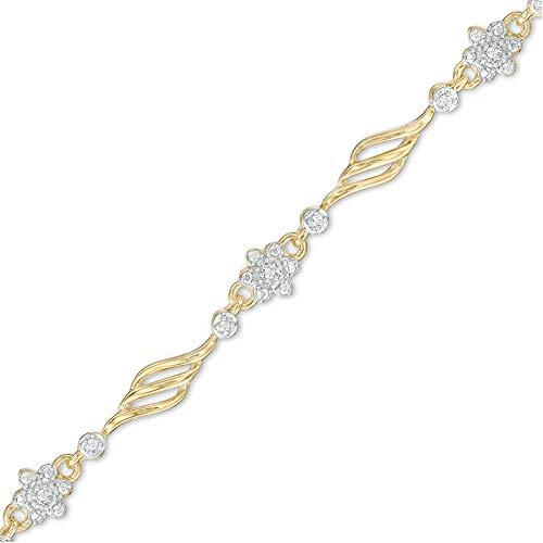 SLV Pulsera de flores alternativas de diamantes de corte redondo D/VVS1 de 0,50 quilates, en plata de ley 925 chapada en oro amarillo de 10 quilates