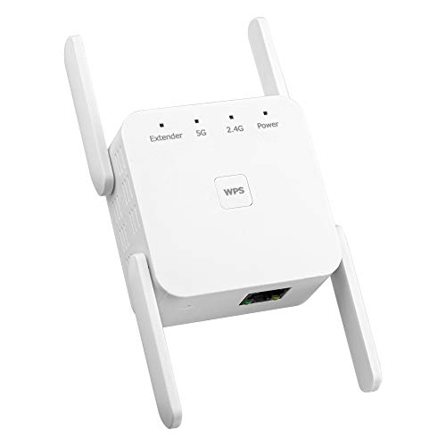 NEXTFI - WiFi Range Extender 1200Mbps, Wireless Signal Repeater Booster 2.4 & 5GHz Dual Band 4 Antennas 360° Full Coverage, Extend WiFi Signal to Smart Home Devices