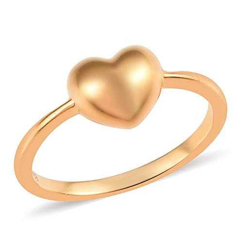 TJC 925 Sterling Silver 14ct Gold Plated Mini Love Heart Promise Ring