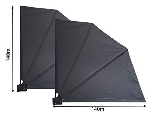QUICK STAR 2 Stück Sichtschutz Fächer Premium 140x140cm Stoff Balkon Trennwand Windschutz Sonnenschutz Anthrazit