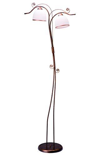 Stehleuchte Wohnzimmer 158cm in Shabby Schwarz Jugendstil Glas Metall 2x E27 Stehlampe NARELLA