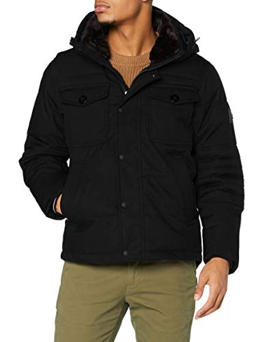Tommy Hilfiger Herren Removable Fur Hooded Bomber Jacke, Black, M