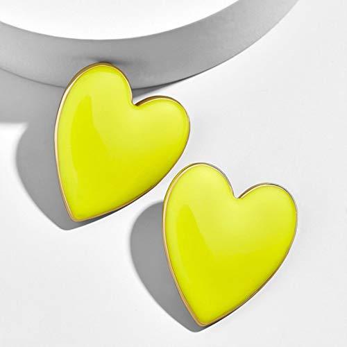 AQUALITYS Pendientes de botón de corazón esmaltados Amarillos, Blancos y Negros a la Moda Bonitos para Mujer, Pendientes de corazón de Amor de Gran tamaño, Color Amarillo