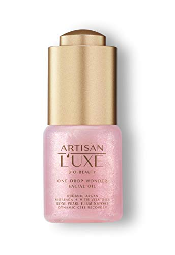 Artisan L'uxe Bio-Beauty One Drop Wonder Facial Oil - Rose Pearl Illuminators Add Radiance & Glow to Skin - Argan & Moringa Oils for Intense Hydration - Dynamic Cell Recovery & Anti-Aging - 0.5 Oz.