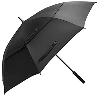 BAGAIL Golf Umbrella 68/62/58 Inch Large Oversize Double Canopy Vented Automatic Open Stick Umbrellas for Men and Women Black,68 inch