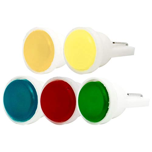 NVFED 10 unids T10 W5W Cerámica LED Coche Interior Cuña Lámparas Cuña Bombilla WY5W 194 Auto Puerta Azul Luz Azul Verde Rojo Amarillo Blanco 10x (Emitting Color : White)