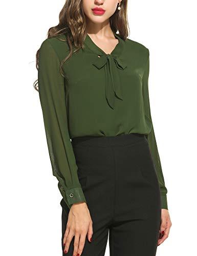 ACEVOG Damen Elegant Business Chiffonbluse Schluppenshirt T-Shirt mit Schleife V-Ausschnitt Einfarbig Tops S, Armeegrün