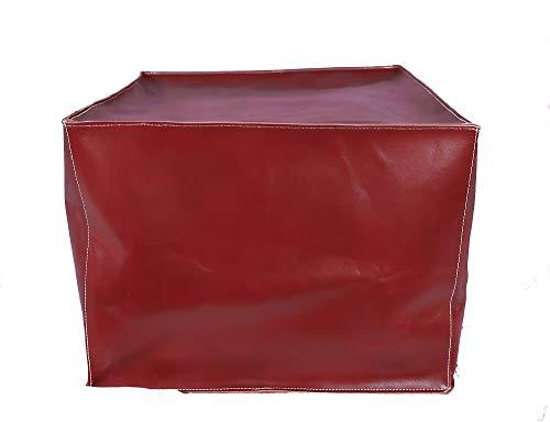 LEATHEROOZE Puf otomano de piel sin relleno, cuadrado, hecho a mano, de piel otomana, puf otomana, de piel auténtica, estilo bohemio, cubo, otomano, 35,5 x 45,7 x 45,7 cm, color granate