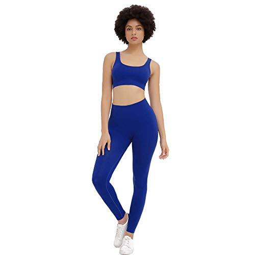 JYMEI Ropa de Yoga sin Fisuras de Mujer, Ropa de Entrenamiento sin Fisuras, Sostenes de Deportes Premium, Leggings, Entrenamiento Transpirable,Dark Blue,L