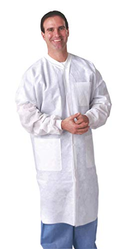 AMZ Medical Lab Coats. Pack of 10 Anti-static and fluid resistant Coats for laboratories, medical settings. Protective coats with Long sleeves, knit collar, cuff, pockets. Full length, X-Large.