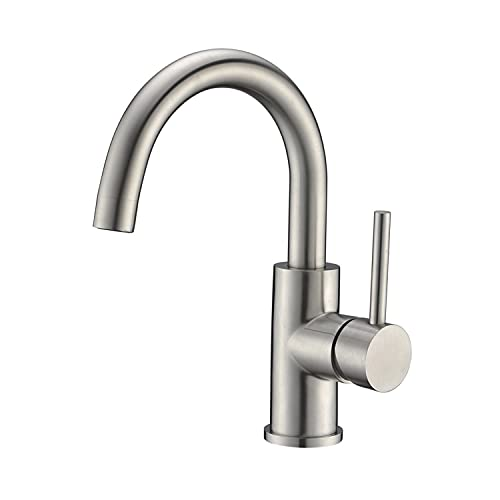 CREA Sink Faucet Bar Sink Faucet Single Hole Bathroom Brushed Nickel Pre Wet Small Kitchen Faucet for Outdoor Marine Stainless Steel Farmhouse Vessel Vanity Lavatory Tap