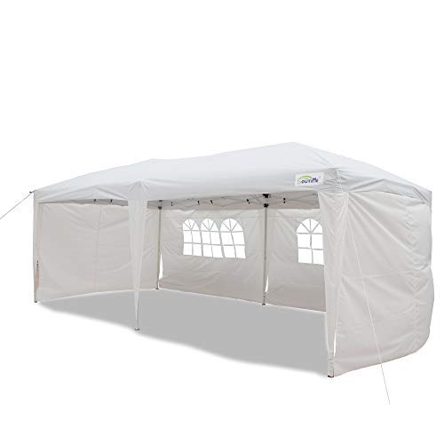 Goutime 10x20 Feet Easy Pop Up Canopy Instant Tent Shelter with 4Pcs 10Ft Removable Sidewalls and Wheeled Bag for Outdoor Commercial Party Events