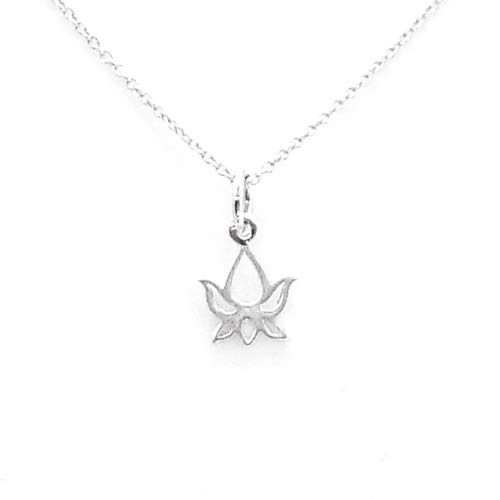 """Lotus Bud Charm Sterling Silver Necklace 18"""" (tiny size)"""