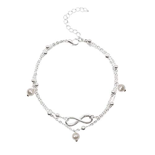 JIE Fashion Hot Pearl Anklet Jewelry Female Hand Beaded Double Chain Footwear Silver