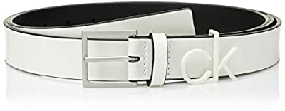 "Calvin Klein Women's 1.1"" INCH Belt with CK Logo Loop, coated white, L"