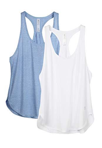 icyzone Camiseta sin Mangas de Fitness para Mujer Chaleco Deportivo, Pack de 2 (L, Blanco/Azul Cielo)