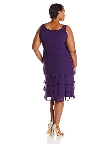 S.L. Fashions Women's Plus-Size Sequin Chiffon Jacket Dress, Eggplant, 22W