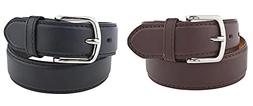 2 Pack Kids Faux Leather 1' Belt - Available from Small to Large (#90 Black/Brown Medium)