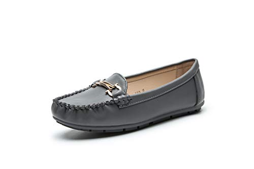 Comfortable Foldable Slip On Loafers Moccasins Driving & Walking Flats Cushioned Insole Shoes for Women, AVE Grey Size 11