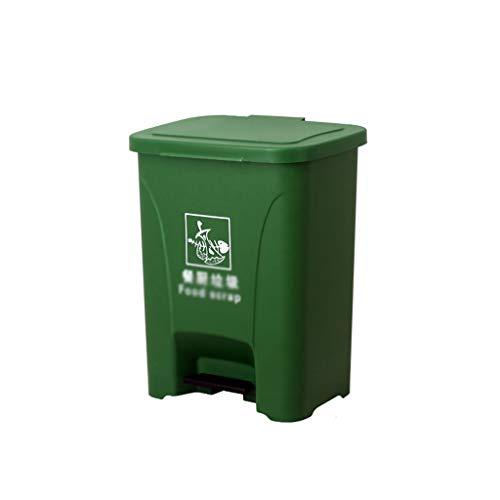 Public Lieu Dustbins, Station de métro usine Garden Recycling Bins Grande Épaississement Type de pédale Garbage Tri Box (Color : Green, Size : 28 * 37 * 47CM)