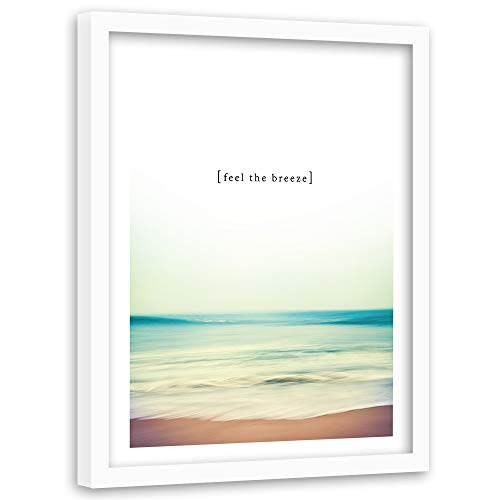 Imagen Cuadro blanco XXL Paisaje Marco blanco Frase Playa Mar Multi 80x120 cm