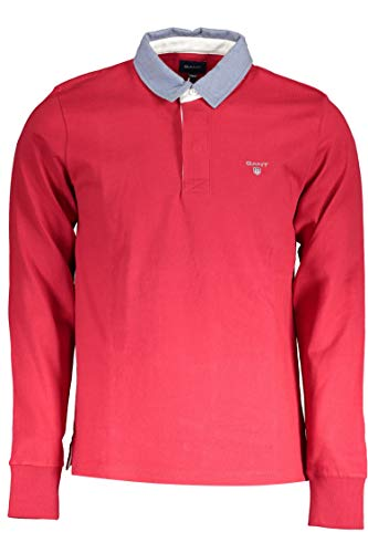 GANT Herren Polo-Shirt Wolle T-Shirt Einfarbig Rot M