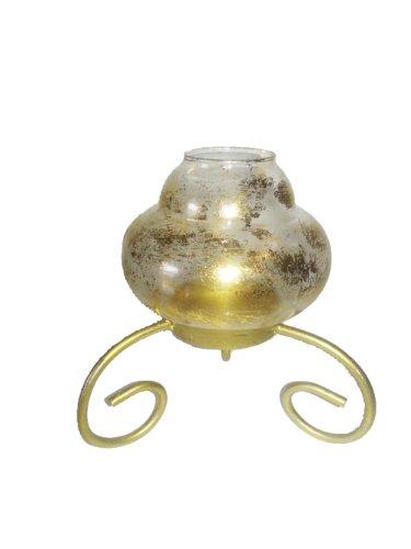 Oberstdorfer Glashütte Bougeoir style antique en verre, doré, bougies décoratives le détenteur, hauteur: environ 16 cm