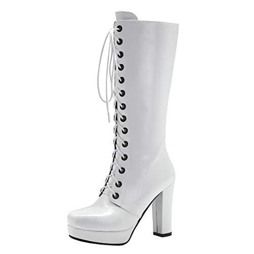 Dearney Damen Plateau High Heels Stiefel Schnüren Lack Sexy Kniehohe Stiefel mit Blockabsatz Gothic Damenschuhe Reißverschluss