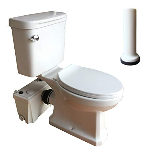 500 Watt Macerating Toilet with Pump Set, Two-Piece Upflush Toilets Inclued Macerator Pump, Water Tank, Round Toilet Bowl, Extension Pipe