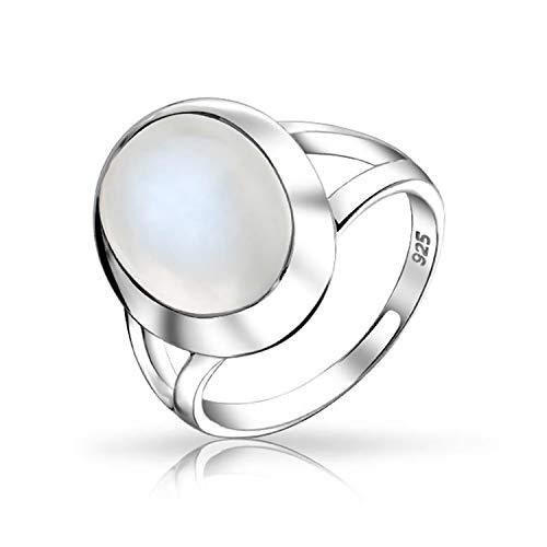 Bling Jewelry Bisel Cabujón Oval Piedras Preciosa Vástago Dividido Boho Humor Moonstone Anillo para Mujer para Adolescente 925