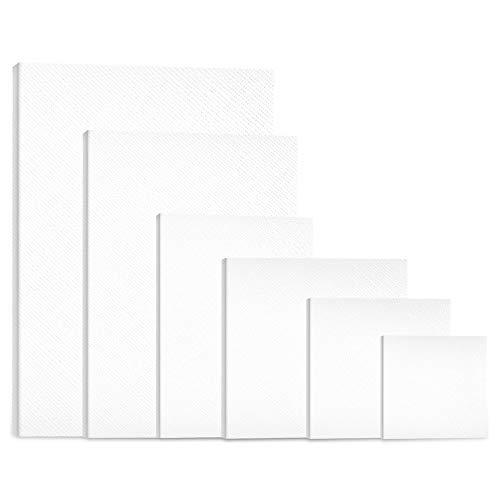 Leinwand Set - 6 Stück Leinwand zum Bemalen - Leinwand Rahmen Keilrahmen - Leere Leinwandpaneele in Verschiedenen Größen - Geeignet für Künstler, Amateure, Anfänger und Kinder