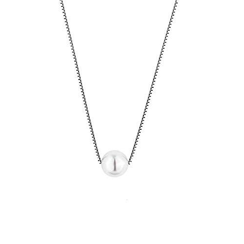 LFNSTXT Color Blanco/Negro Perla 100% Plata De Ley 925 Cadenas De Caja Gargantilla Collares Pendientes para Mujer Joyería 40Cm @ Blanco