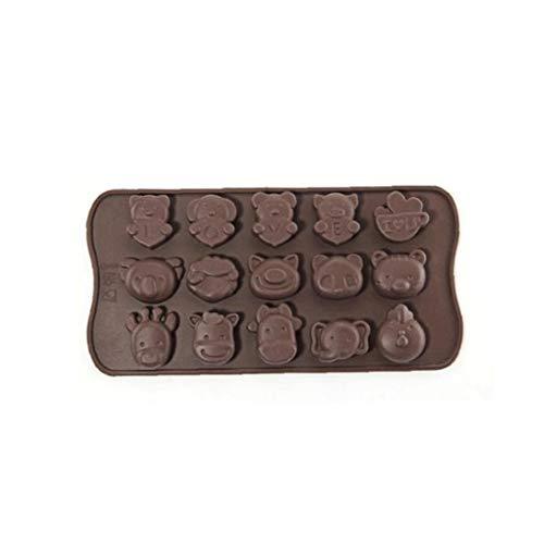 OMMO LEBEINDR Molde de Silicona 3D del Chocolate Molde de la Torta Pasta de azúcar con Forma de Animal de DIY de la Torta Que adorna Las Herramientas del café para Gardening