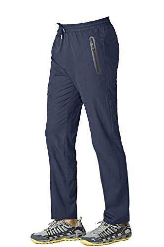 KEFITEVD Pantalon de jogging pour homme - Respirant et léger - Avec poches zippées - Bleu - W32