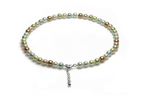 Schmuckwilly Muschelkernperlen Perlenkette Perlen Collier - multifarbig Hochwertige Damen Muschelkernperlen Kette aus echter Muschel 45cm 8mm mk8mm126-45