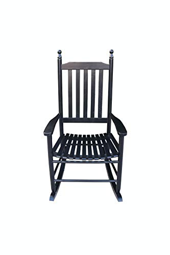 Directtyteam Wooden Porch Rocker Chair, Balcony Rocking Chair Solid Wood Home Modern Adult Sofa Single Recliner Lazy Old Man Chairwith Retro-Designed Armchairs Supports up to 280 lbs