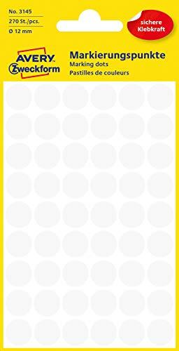 AVERY Zweckform 3145 selbstklebende Markierungspunkte (Ø 12 mm, 270 Klebepunkte auf 5 Bogen, runde Aufkleber für Kalender, Planer und zum Basteln, Papier, matt) weiß