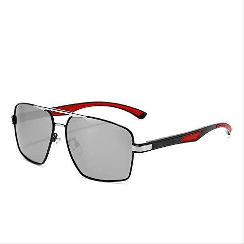 Gafas de sol Gafas de sol Polare Hombres Plaza Deportes Conducir Mercurio Copos Negro y plata cajas