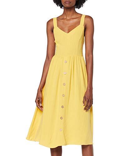 New Look Bermuda Button Vestido Amarillo (Bright Yellow 85) 34 (Talla del Fabricante: 6) para Mujer