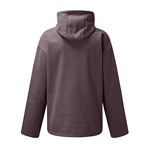 WYTong Plus Size Novelty Hoodies for Men Casual Length Outwear Solid Color Wool Long Sleeve Hoodies Sweatshirts(Purple,5X-Large)