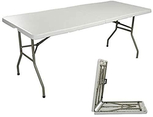 HJTLK Mesa portátil de 6 pies,Mesa de Trabajo Plegable,Plegable por la Mitad,portátil,de plástico,para Fiestas de Picnic,Mesa Blanca para Acampar,183cm × 76cm