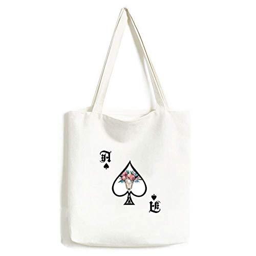 Schaf Knochen Rose Illustration Tier Handtasche Craft Poker Spaten waschbare Tasche