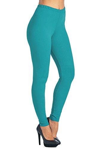 Leggings Mania Women's Solid Color Full Length High Waist Leggings, Teal, One Size