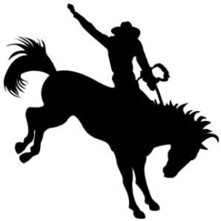 Cowboy Riding A Rodeo Bucking Horse Sticker - Sticker Graphic - Auto, Wall, Laptop, Cell, Truck Sticker for Windows, Cars, Trucks