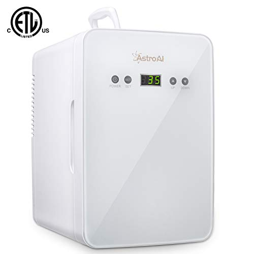 AstroAI Mini Fridge 6 Liter/8 Can Skincare Fridge - with Temperature Control - AC/12V DC Portable Thermoelectric Cooler and Warmer for Bedroom, Cosmetics, Medications, Breastmilk, Home and Travel