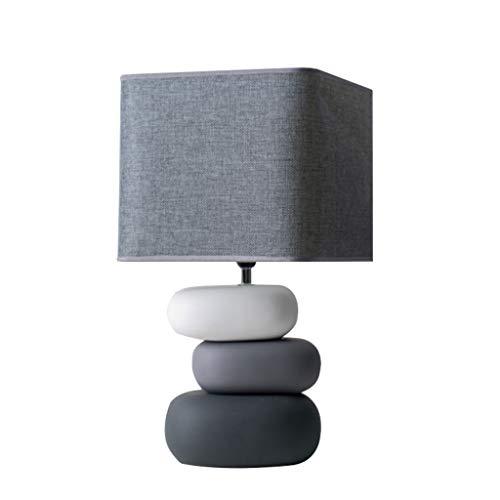 ZWMG Lámparas de Mesa Dormitorio Creativo Lámpara de Mesa de Noche Cerámica Simple Dormitorio Moderno Lámpara Habitación Interruptor de botón de luz