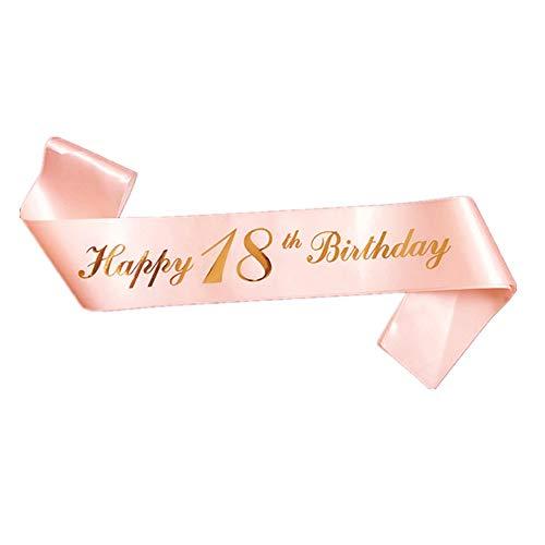 Buon 18 Anni Compleanno Fascia 2 Pcs Oro Rosa Ragazze 18anni di Compleanno Fasce Fascia Birthday Satin Sash 18 ° Compleanno Fascia 18th Birthday Fusciacca per 18 Anni Compleanno Decorazioni Regalo