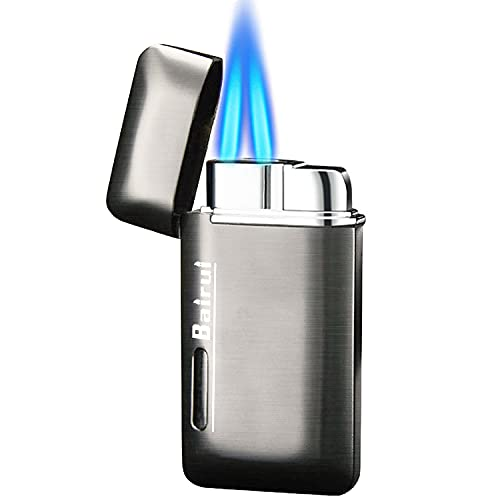 Cponmist Double Jet Torch Lighter, Mini Butane Lighter with Visible Fuel Window, Refillable and Adjustable Gas Lighter, Great Mens Gifts, Gray (Without Gas)