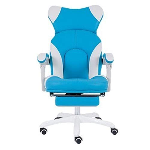 BOOSSONGKANG Silla Office Boss Gaming EsportGamer Silla de Cuero sintetico Rosa Lindo Masaje Reposapies Ergonomia, reposapies Azul